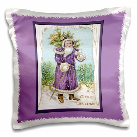 3dRose Vintage Christmas Card with Santa Clause in Purple Framed in Purple on a Lavender Background, Pillow Case, 16 by 16-inch (Lavender Pillow)