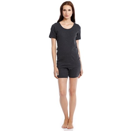 Worn 100% Cotton Short - Leveret Women Shorts 2 Piece Pajama Set 100% Cotton Charcoal Medium