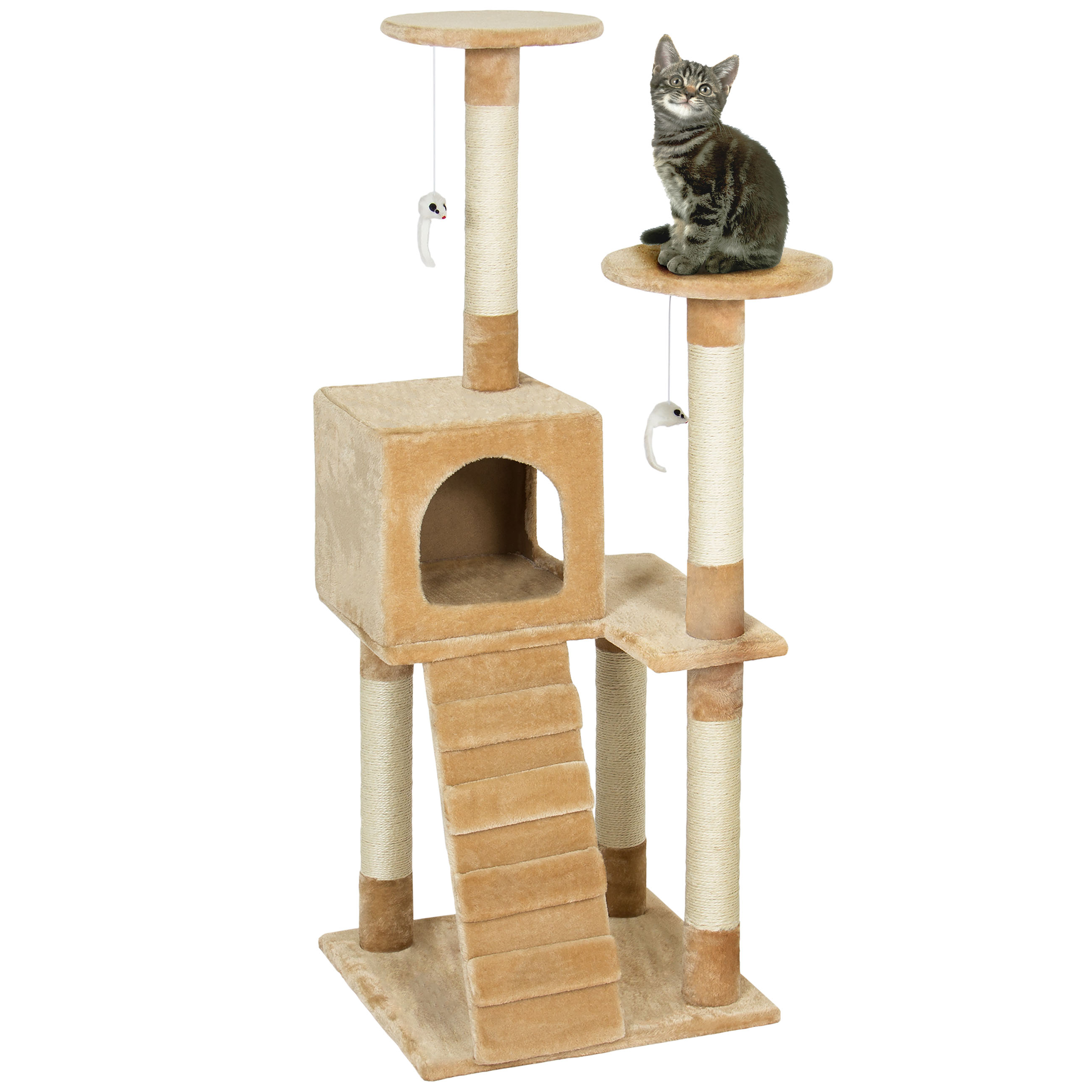 "Best Choice Products Pet Play House 52"" Cat Tree Scratcher Condo Furniture, Beige by"
