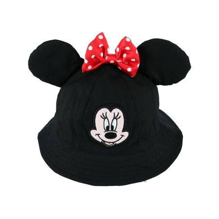 Jerry Leigh Disney Toddler Minnie Mouse Bucket Hat with Bow and 3D Ears