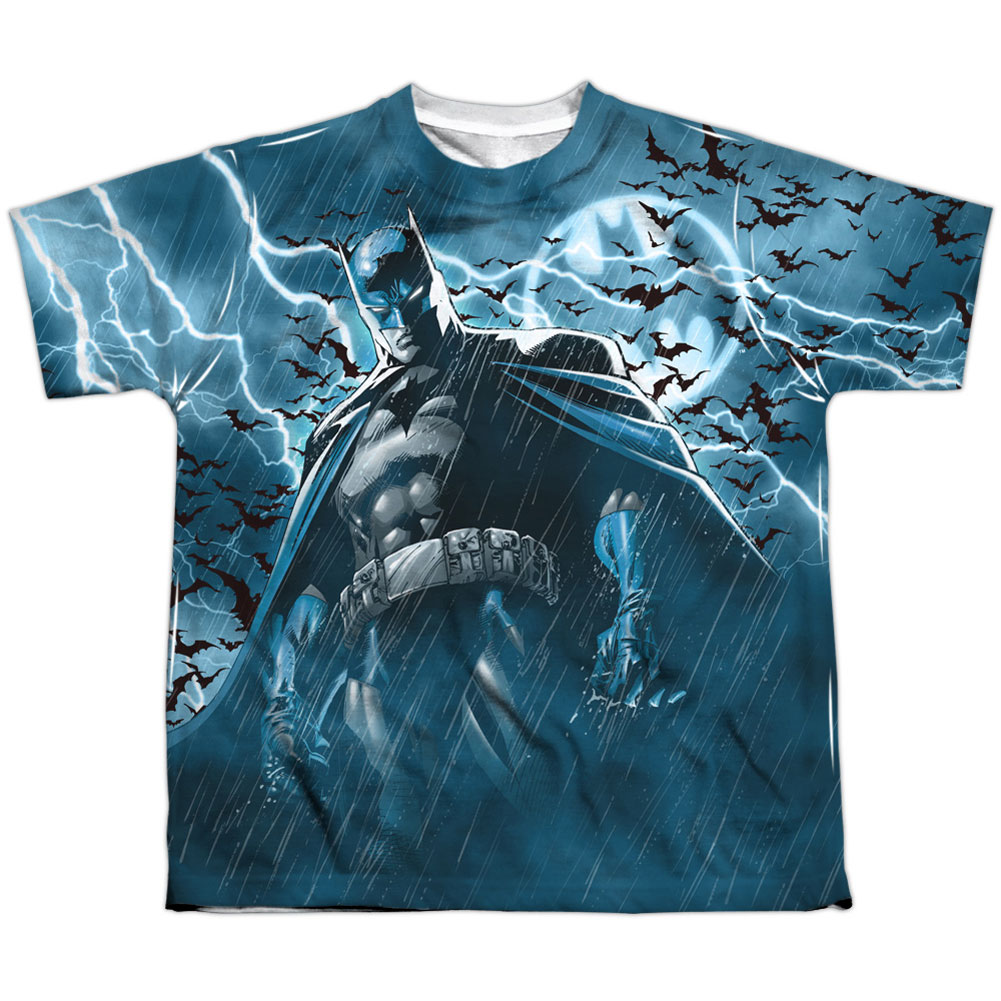 Batman Men's Stormy Knight Sublimation T-shirt White by Trevco