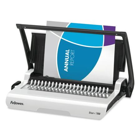 Fellowes Star+ 150 Manual Comb Binding Machine, 17 11/16 x 9 13/16 x 3 1/8, White -FEL5006501