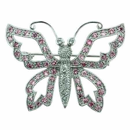Sterling Silver Filigree pave Pink Cubic Zirconia and Simulated Diamond Cubic Zirconia Butterfly Pin by SilverSpeck