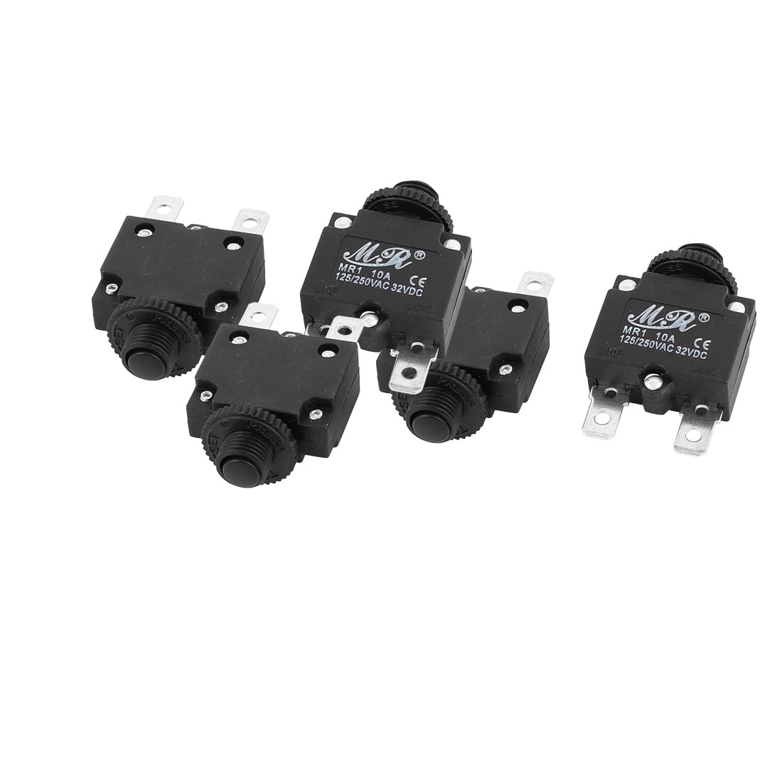 5Pcs  125/250V/32VDC 10A Circuit Breaker Current Overload Protector Switch