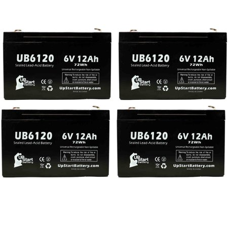4x Pack - Tripp-Lite OMNIVS1000 Battery Replacement - UB6120 Universal Sealed Lead Acid Battery (6V, 12Ah, 12000mAh, F1 Terminal, AGM, SLA) - Includes 8 F1 to F2 Terminal Adapters - image 4 de 4