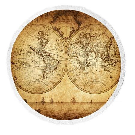 Ykcg vintage world map ancient nautical chart navigation voyage ykcg vintage world map ancient nautical chart navigation voyage sailing round beach towel beach mats beach gumiabroncs Choice Image