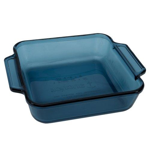 Anchor Hocking Square Glass Cake Dish, Coastal Blue