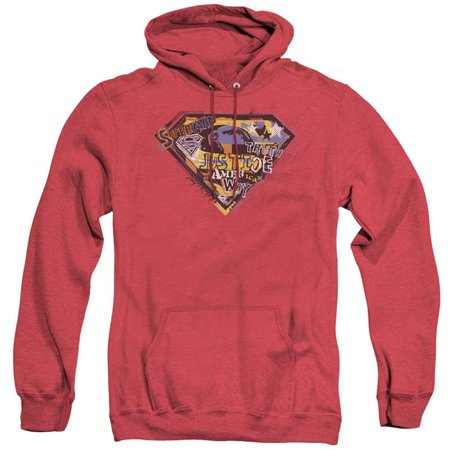 Trevco Sportswear SM1631-AHH-3 Superman & American Way Adult Heather Hoodie, Red - Large