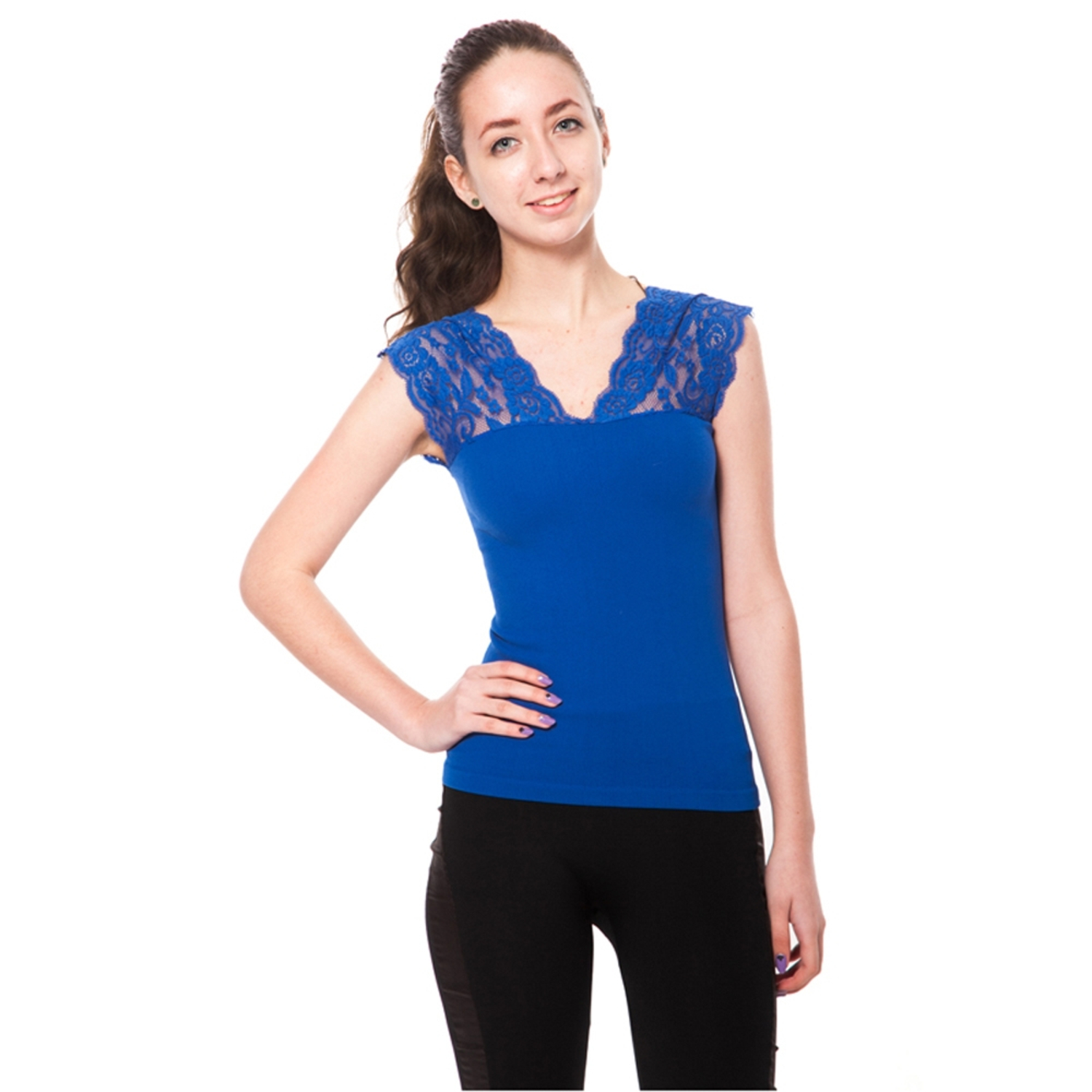 Women's V Neck Floral Lace Shoulder Sleeveless Top (One Size Fits All) - Royal Blue