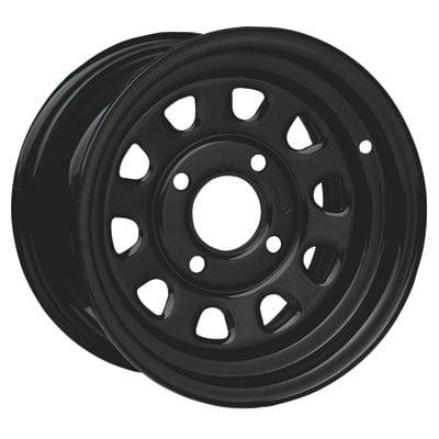 4/110 ITP Steel Wheel 12x7 2.0 + 5.0 Black for Kymco MXU 500 2010-2014 ()