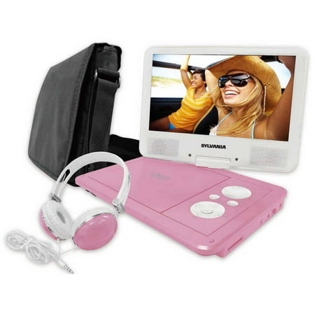 Sylvania SDVD9060 9″ Swivel Screen Portable DVD Player with Deluxe Carry Bag and Matching Headphones, Pink