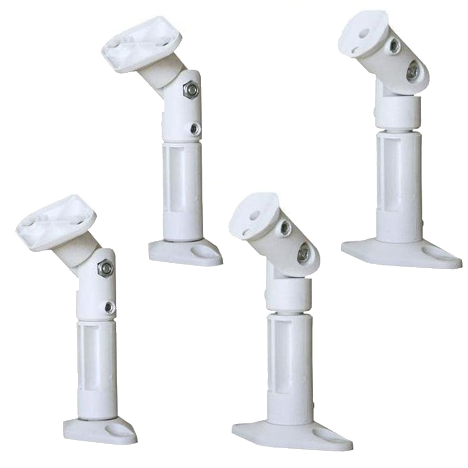 VideoSecu 4 Packs of Satellite Speaker Mounts Mounting on Wall/ Ceiling Home Theater Surround Sound Brackets White BS7