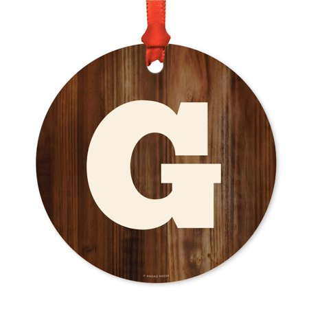 Metal Christmas Ornament, Monogram Letter G, Rustic Wood, Includes Ribbon and Gift Bag - Ribbon Letters