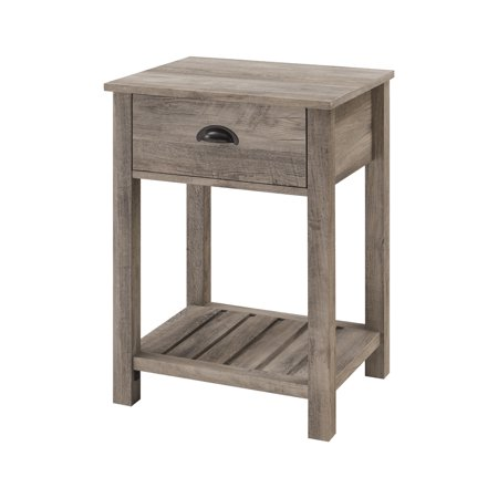 Woven Paths Farmhouse Single Drawer Open Shelf End Table, Grey Wash