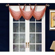 "K36 BRICK 1-PC Solid Voile Sheer WATERFALL Valance Window Treatment With 2 Grommets On Top 55""in Wide X 24""in Length"
