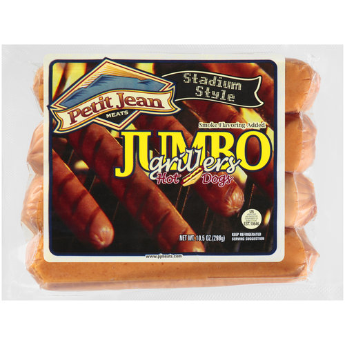 Petit Jean Jumbo Grillers Hot Dogs, 4 ct, 10.5 oz