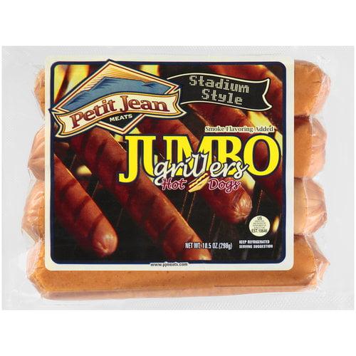 Petit Jean Jumbo Grillers Hot Dogs, 4 ct, 10.5 oz