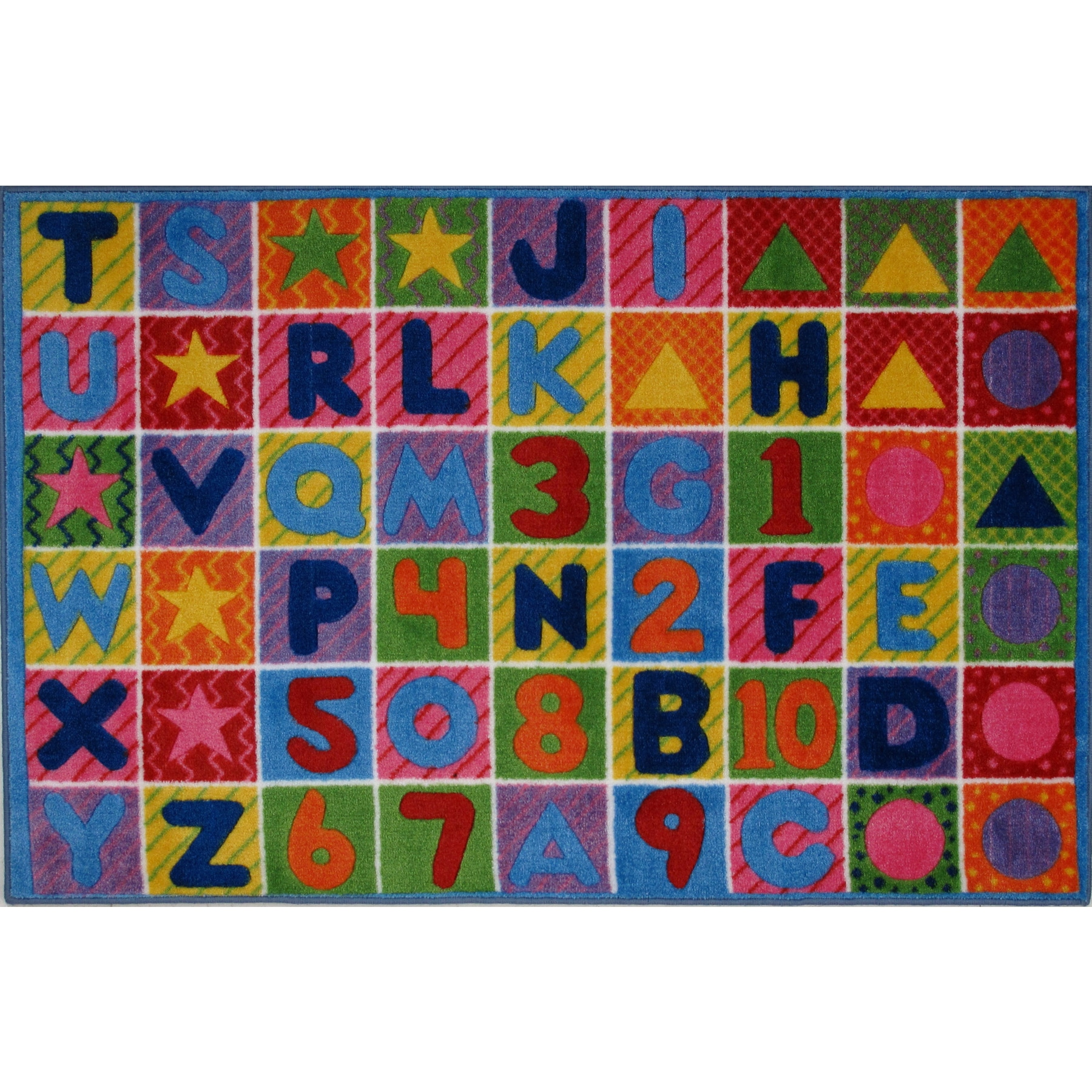 LA Rug Numbers and Letters Multi-colored Nylon Area Rug (8' x 11')