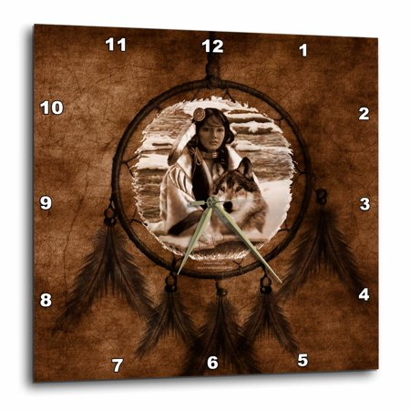 3dRose Brown Wolf based on a painting by Martin Basmajian, Wall Clock, 13 by 13-inch