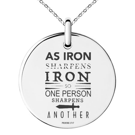 Stainless Steel As Iron Sharpens Iron Proverbs 27:17 Engraved Small Medallion Circle Charm Pendant Necklace ()