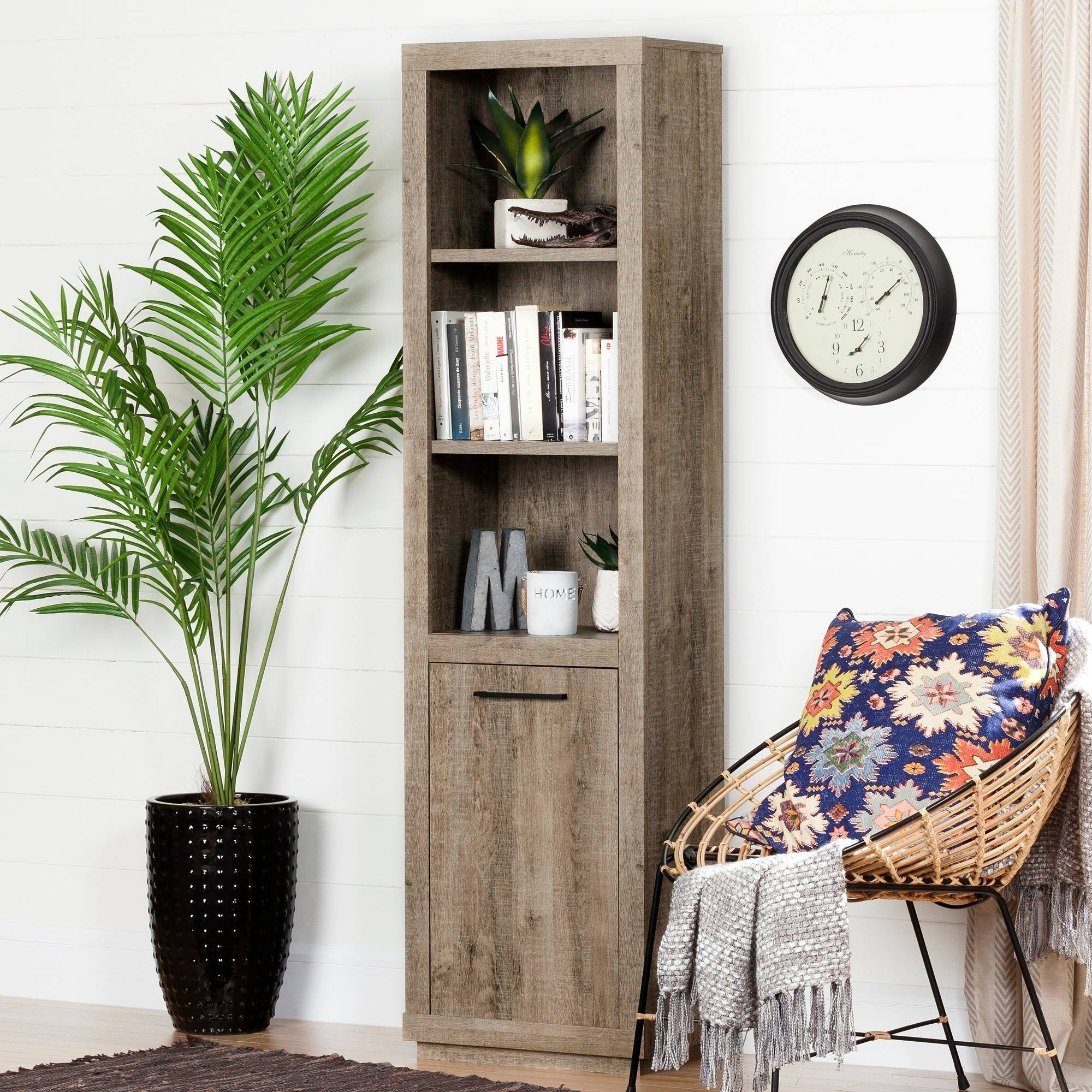 "South Shore Kanji 3-Shelf 71"" Bookcase with Door, Weathered Oak"