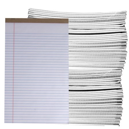 (72 Count) Assorted 50pg Legal Pads 8.5 x 14 Perforated Note Pads Wide/Letter Ruled Writing Paper Bulk