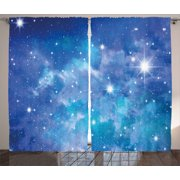 Space Curtains 2 Panels Set, Bright Star Clusters Constellation Dusty Deep Interstellar Ethereal Infinity Picture Image, Window Drapes for Living Room Bedroom, 108W X 90L Inches, Blue, by Ambesonne