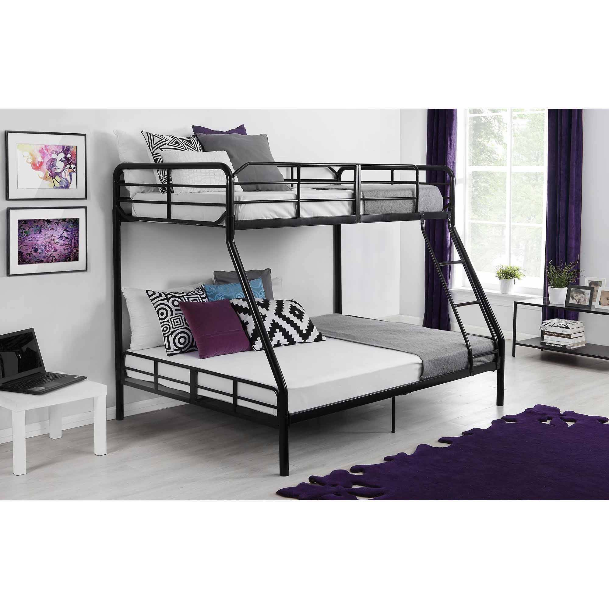 Mainstays Twin Over Full Metal Sturdy Bunk Bed Black Walmartcom