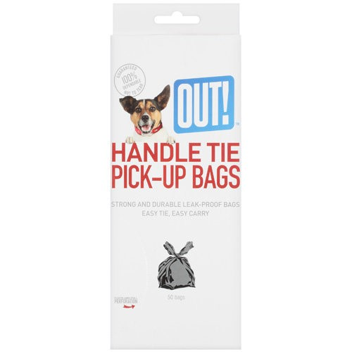 OUT! Handle Tie Pick Up Bags, 50 Ct