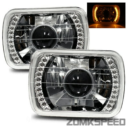 1995 1996 1997 Toyota Tacoma 7x6 H6014 H6052 H6054 Chrome Crystal Square Projector Headlights Yellow Led Ring