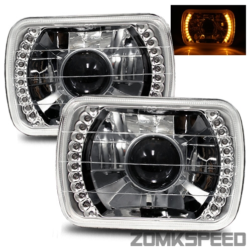 1983-1993, Chevy S10 Blazer 7X6 H6014/H6052/H6054 Chrome Crystal Square Projector Headlights - Blue LED Ring