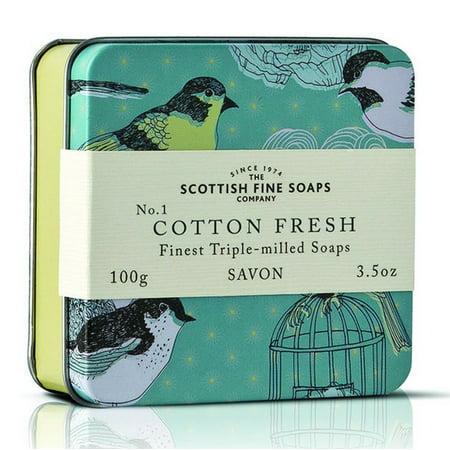 Scottish Fine Soaps Birds Cotton Fresh Soap in a Tin 100g 3.5oz