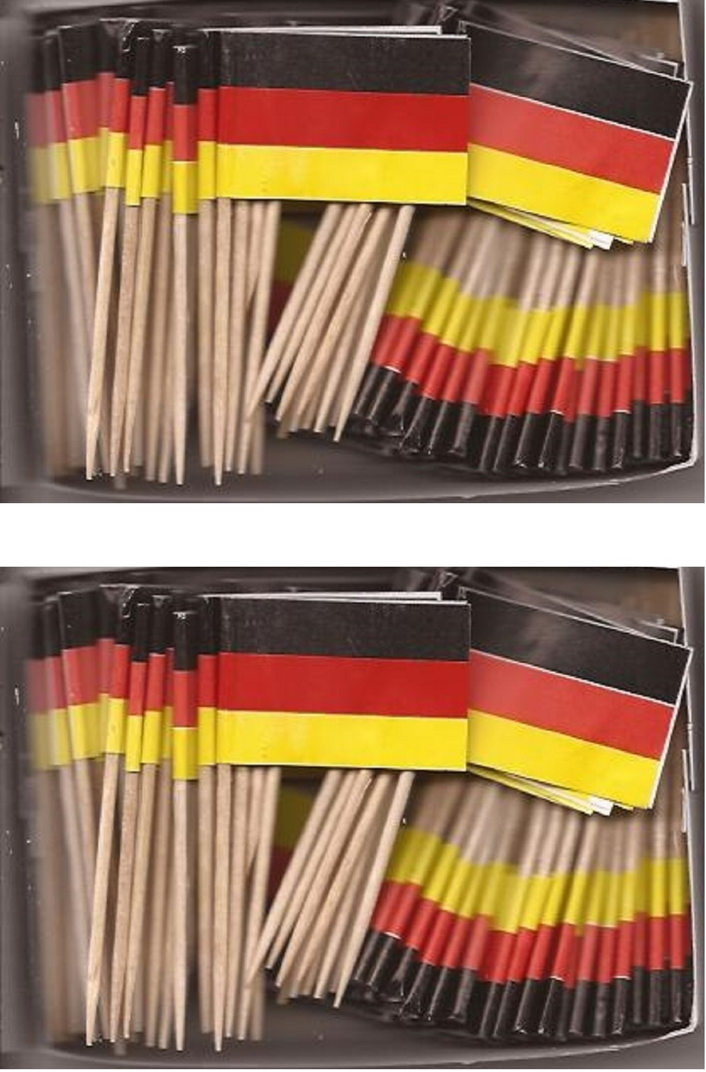 2 Boxes of Mini Germany Toothpick Flags, 200 Small German Flag Toothpicks or...