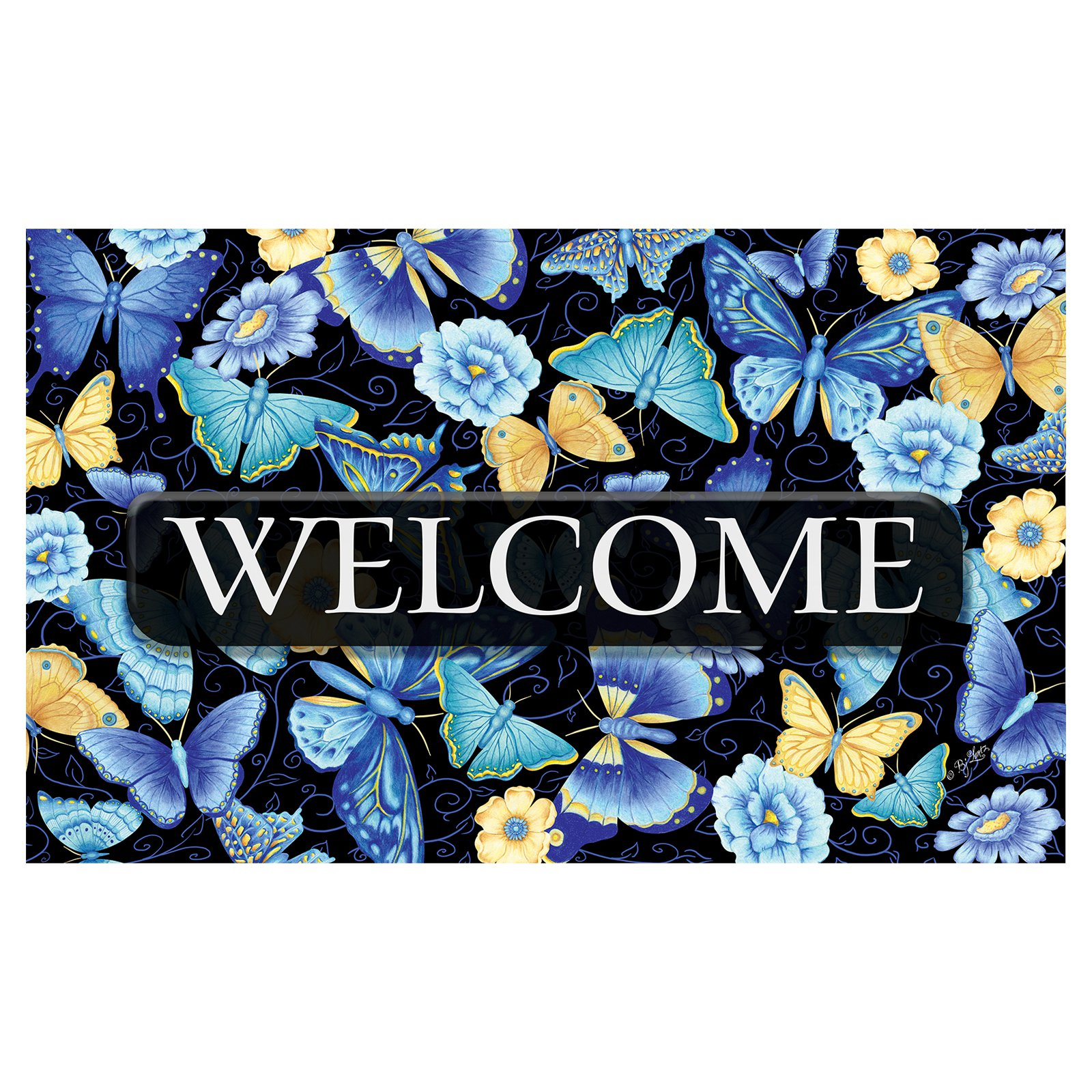 Toland Home Garden Blue Butterfly Welcome Doormat - Polyester / Rubber