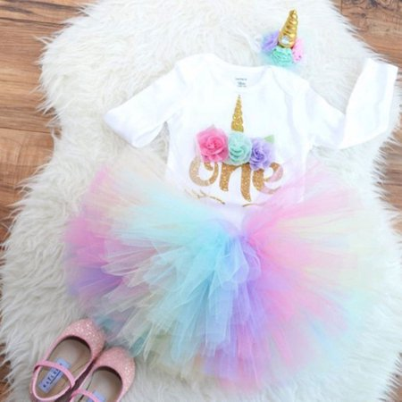 3PCS Baby Girl 1st Birthday Outfit Party Unicorn Tops Romper Cake Smash Tutu - Neon Outfits For Parties