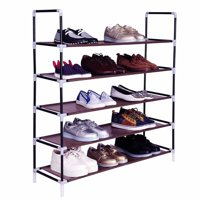Simple Assembly 5 Tiers Non-woven Fabric Shoe Rack with Handle Dark Brown