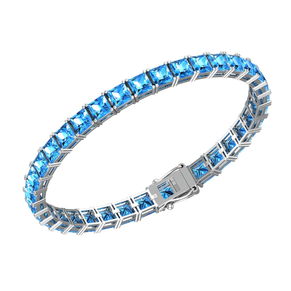 Firy-ice cushion cut 24.5 CTTW 5mm Natural Swiss Blue Topaz Tennis bracelet for Mother's Day by Sterlyn Silver Corp