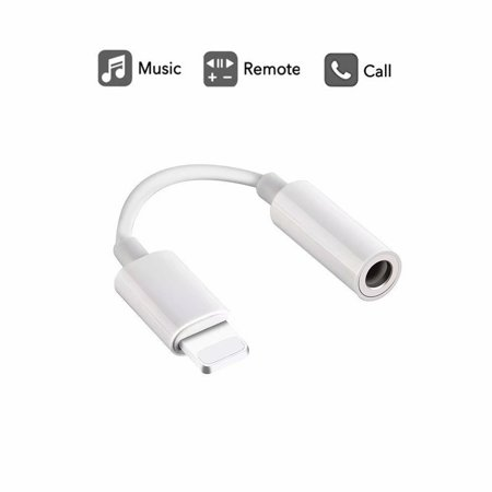 Lightning to 3.5mm Headphone Jack Adapter, for iPhone 8/ 8 Plus/ iPhone X/ iPhone 7/ 7 Plus, iPod Touch, iPad and More, Music Control & Calling Function Supported – White