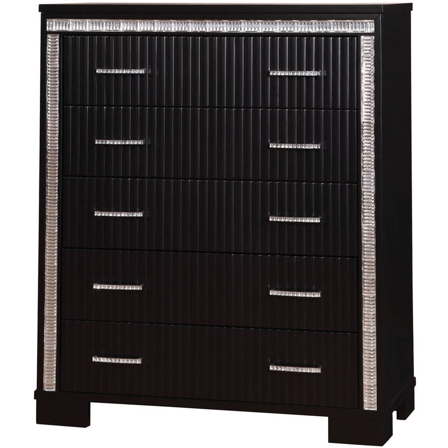 Furniture of America Jerlene Fluted Panel 5-Drawer Chest, Black