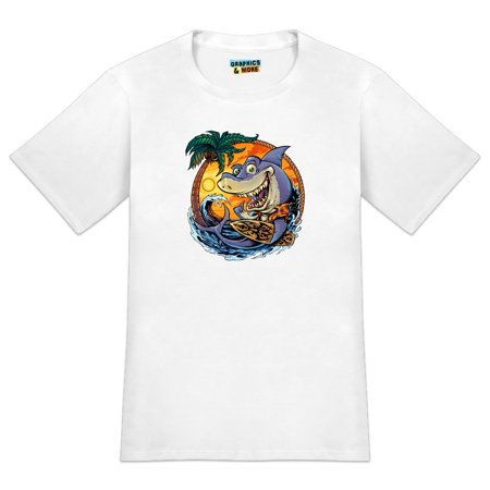 Shark Surfboard Surfing Tropical Ocean Beach Men's Novelty T-Shirt