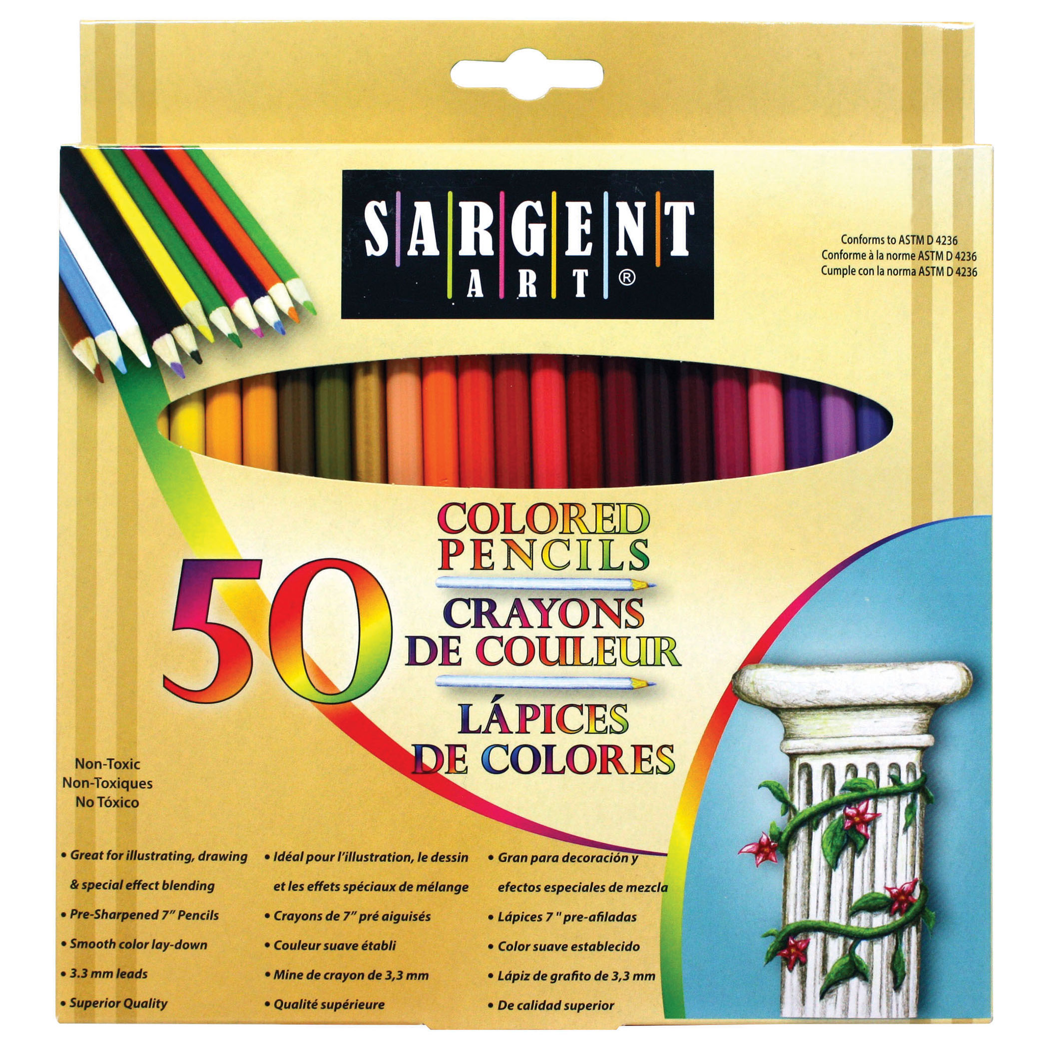 Sargent Art® Colored Pencils, 50 per pack, 3 packs