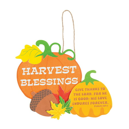 Fun Express - Harvest Blessings Sign CK-12 for Fall - Craft Kits - Hanging Decor Craft Kits - Sign Decoration Craft Kits - Fall - 12 Pieces (Kit Harvest)