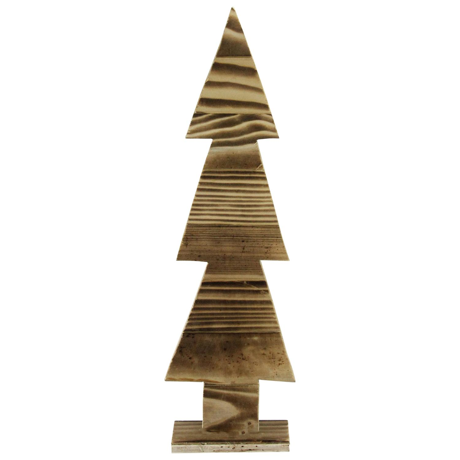 1625 Rustic Wood Cut Out Christmas Tree Table Top Decoration
