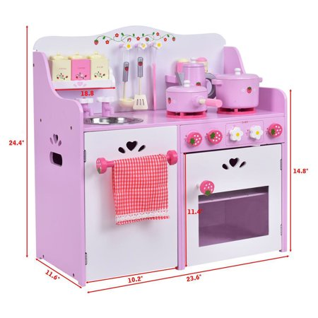 GHP Pink & White Pine Wood & MDF Kids Toddlers Pretend Play Kitchen Cooking Set ()