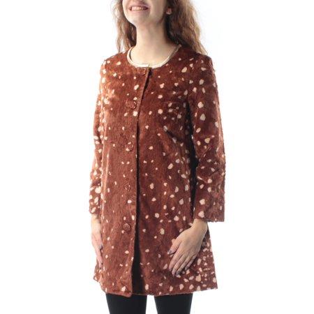 c915091fb74a MAISON JULES - MAISON JULES Womens Brown Faux Fur Animal Print Button Down  Coat Size: XS - Walmart.com