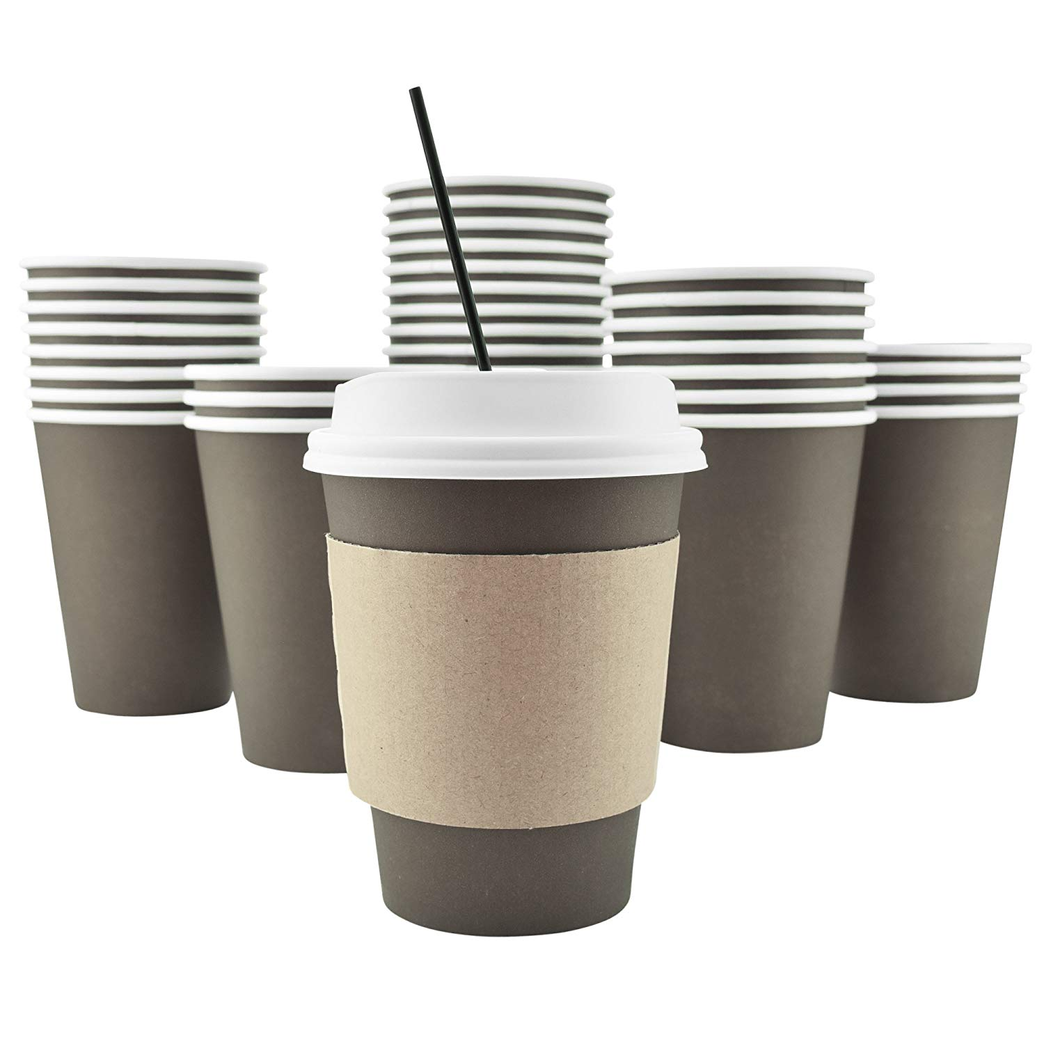 100 Pack 8 Oz [12, 16, 20 Available] Disposable Hot Paper Coffee Cups, Lids, Sleeves, Stirring Straws Mocha... by AckBrands LLC