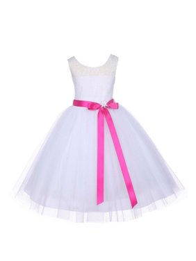 986b3594633 Product Image Ekidsbridal Formal Satin Floral Lace Bodice Tulle White Flower  Girl Dress Bridesmaid Wedding Pageant Toddler Recital