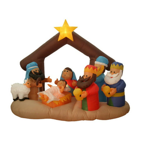 Northlight 6.5 ft. Inflatable Nativity Scene Outdoor Christmas Decoration](Plastic Nativity Scene)