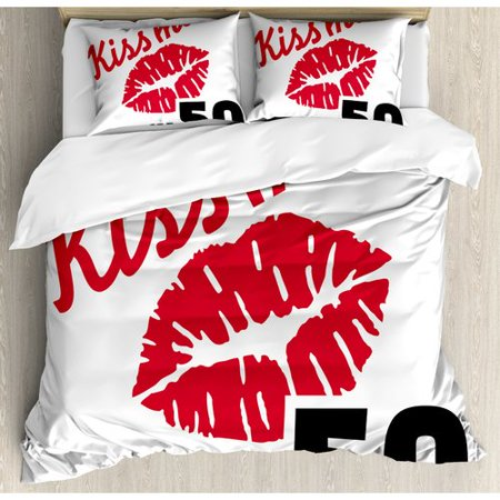 Ambesonne 50th Birthday Decorations Red Colored Attractive Lips Stencil Art Kiss Me I'm Fifty Duvet Cover Set - Red And Black 50th Birthday Decorations