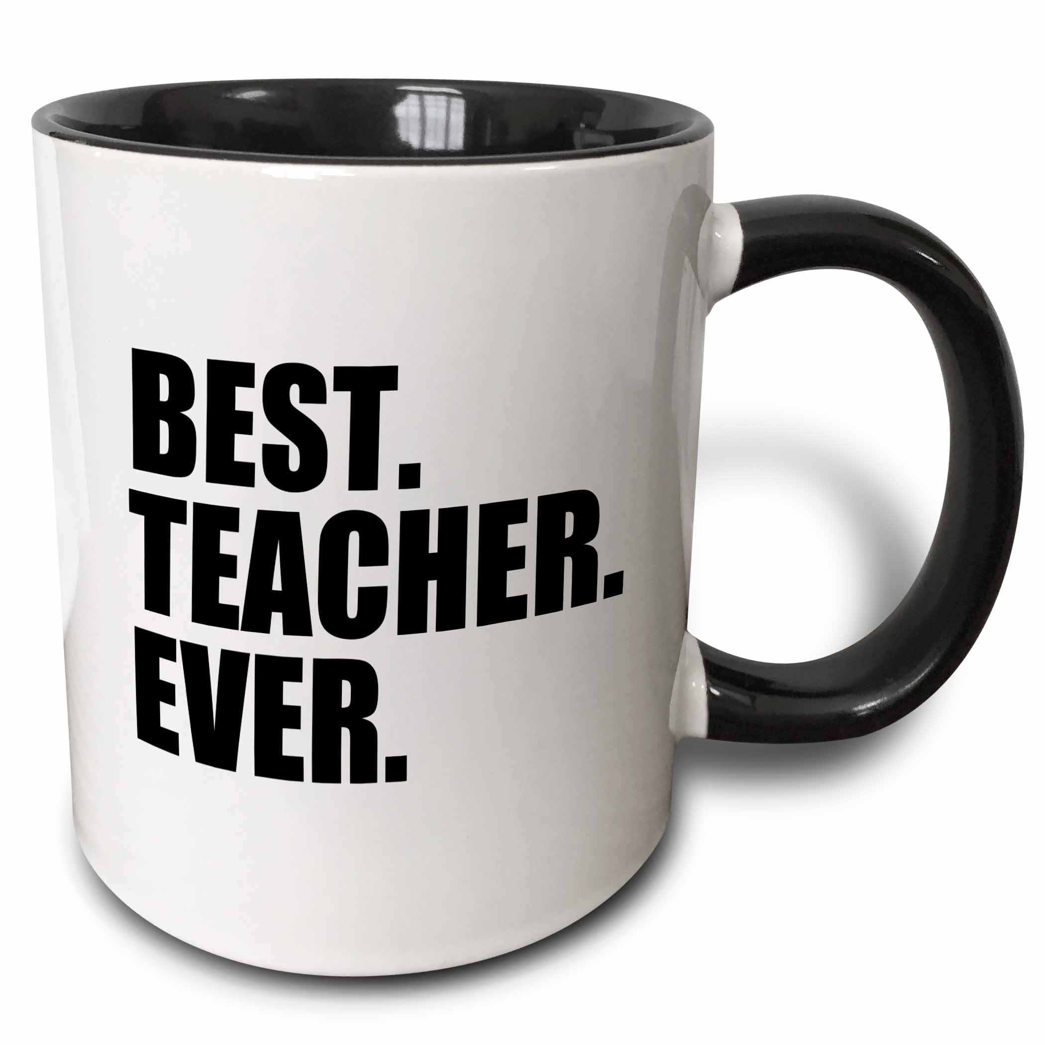 3dRose Best Teacher Ever - School Teacher and Educator gifts - good way to say thank you for great teaching, Two Tone Black Mug, 11oz